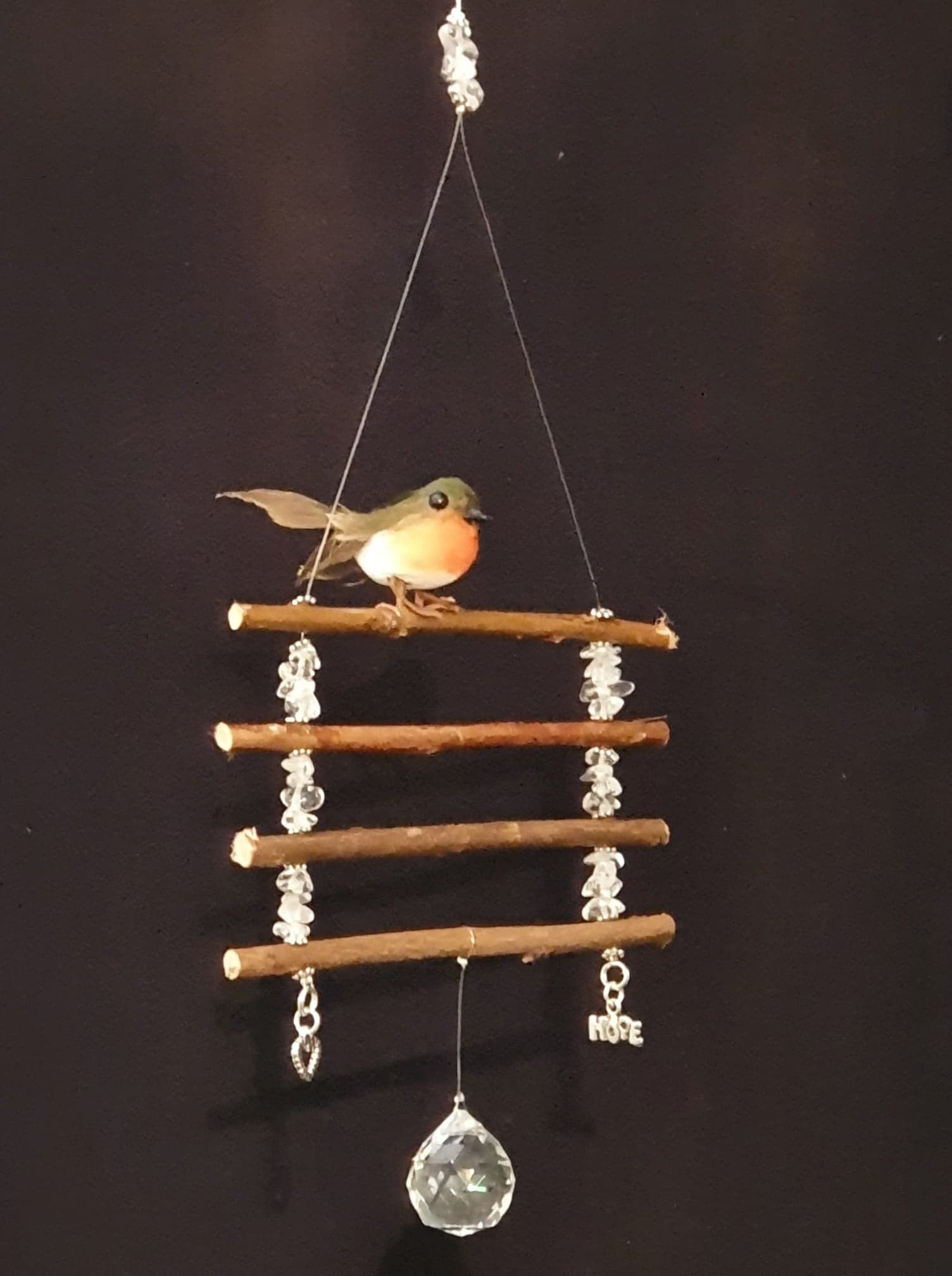 'Rustic Charm' Robin perched on willow twigs suncatcher