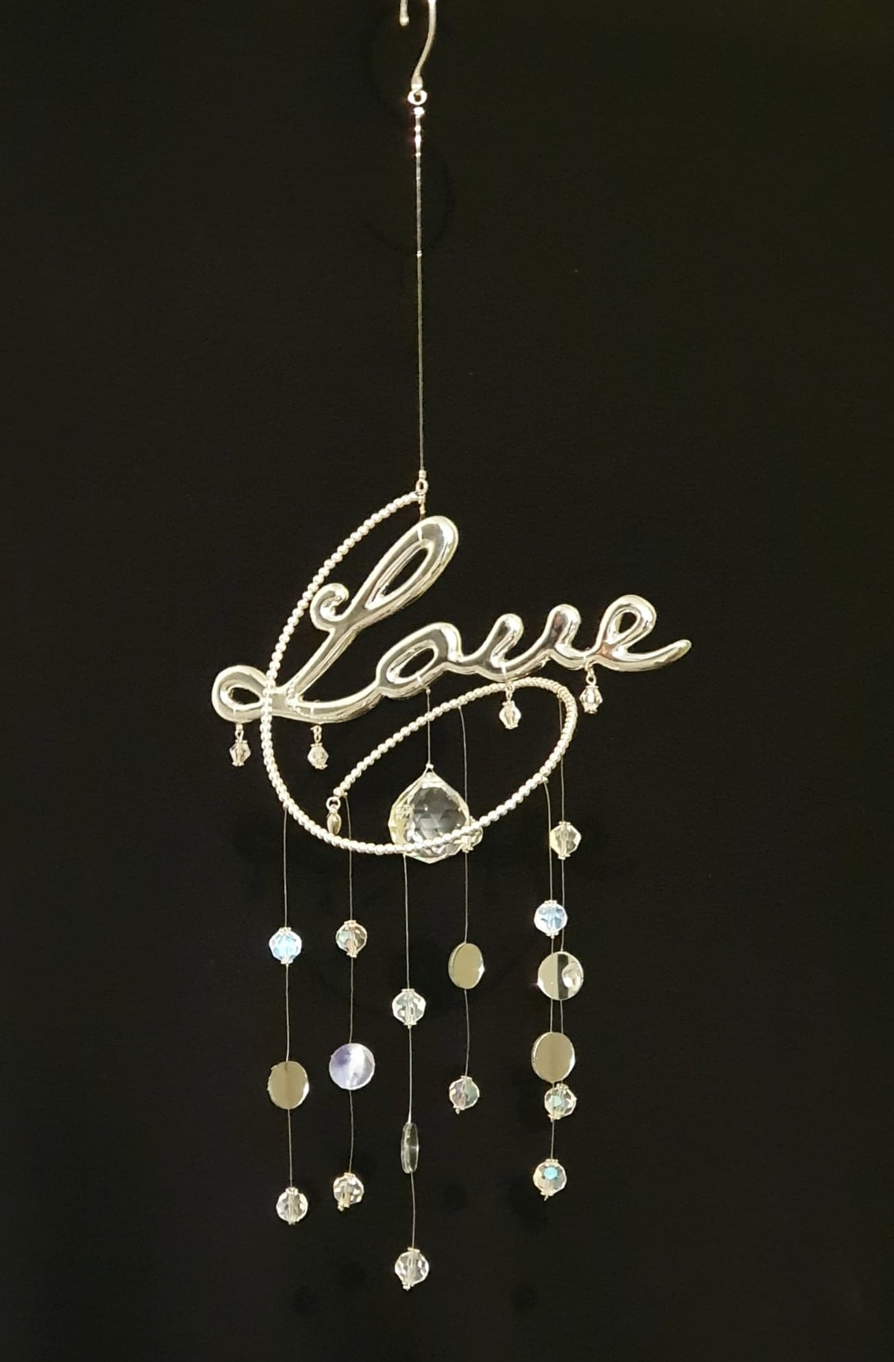 """Love"" spiral suncatcher with AB clear crystals and mirrors"