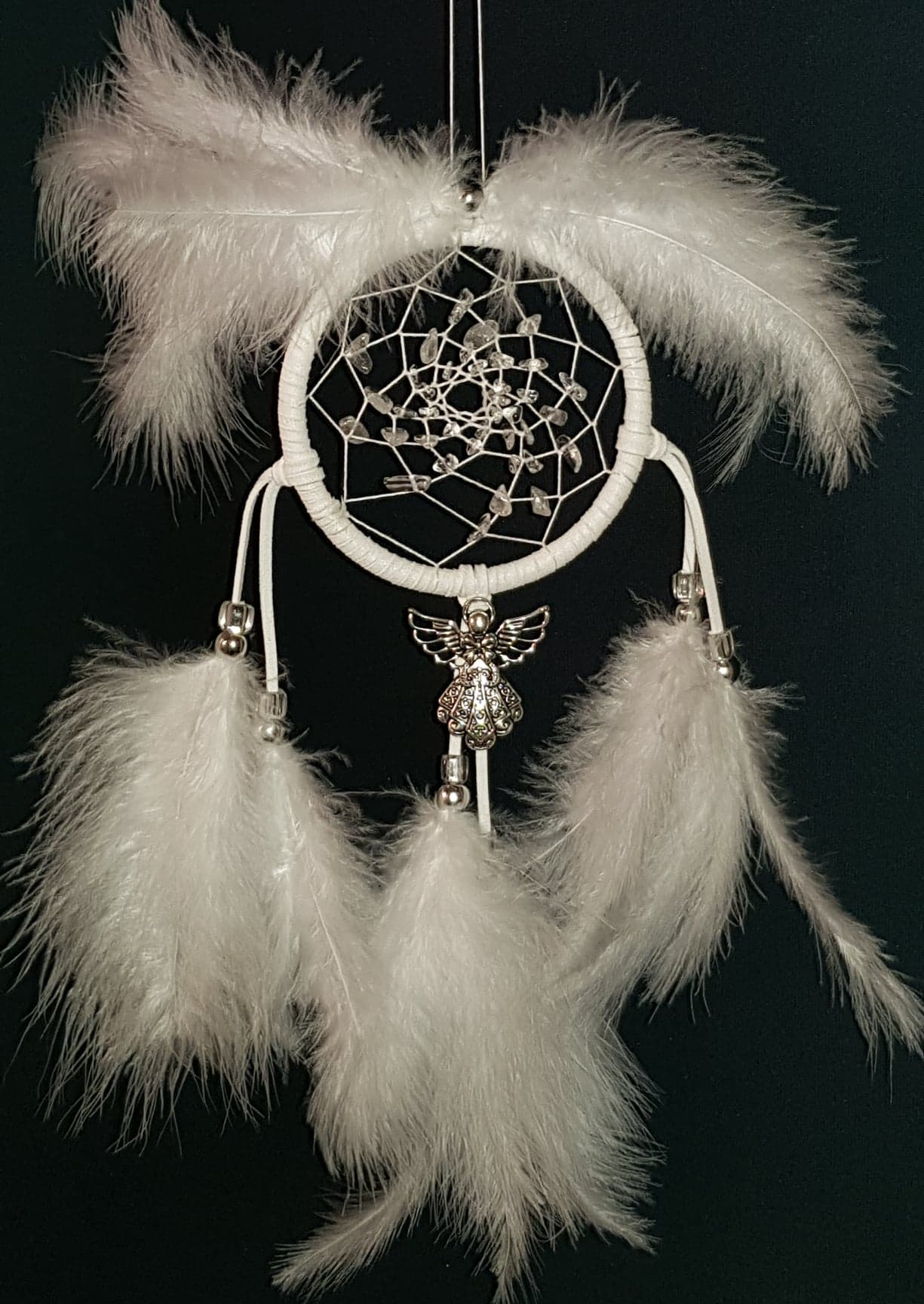 Dreamcatcher, White with Clear Quartz.