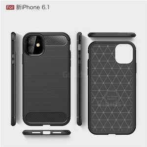 "Gumijasti / gel etui Carbon za Apple iPhone 12 / 12 Pro (6.1"") - črni - mobiline.si"