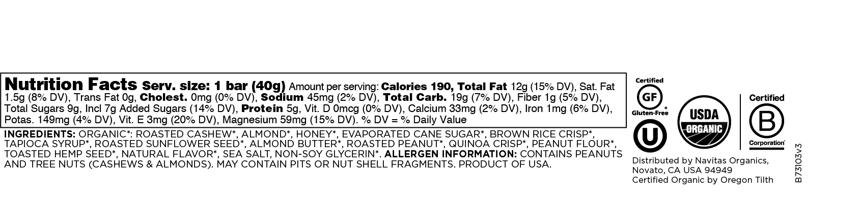 Superfood + Hemp Peanut Bar
