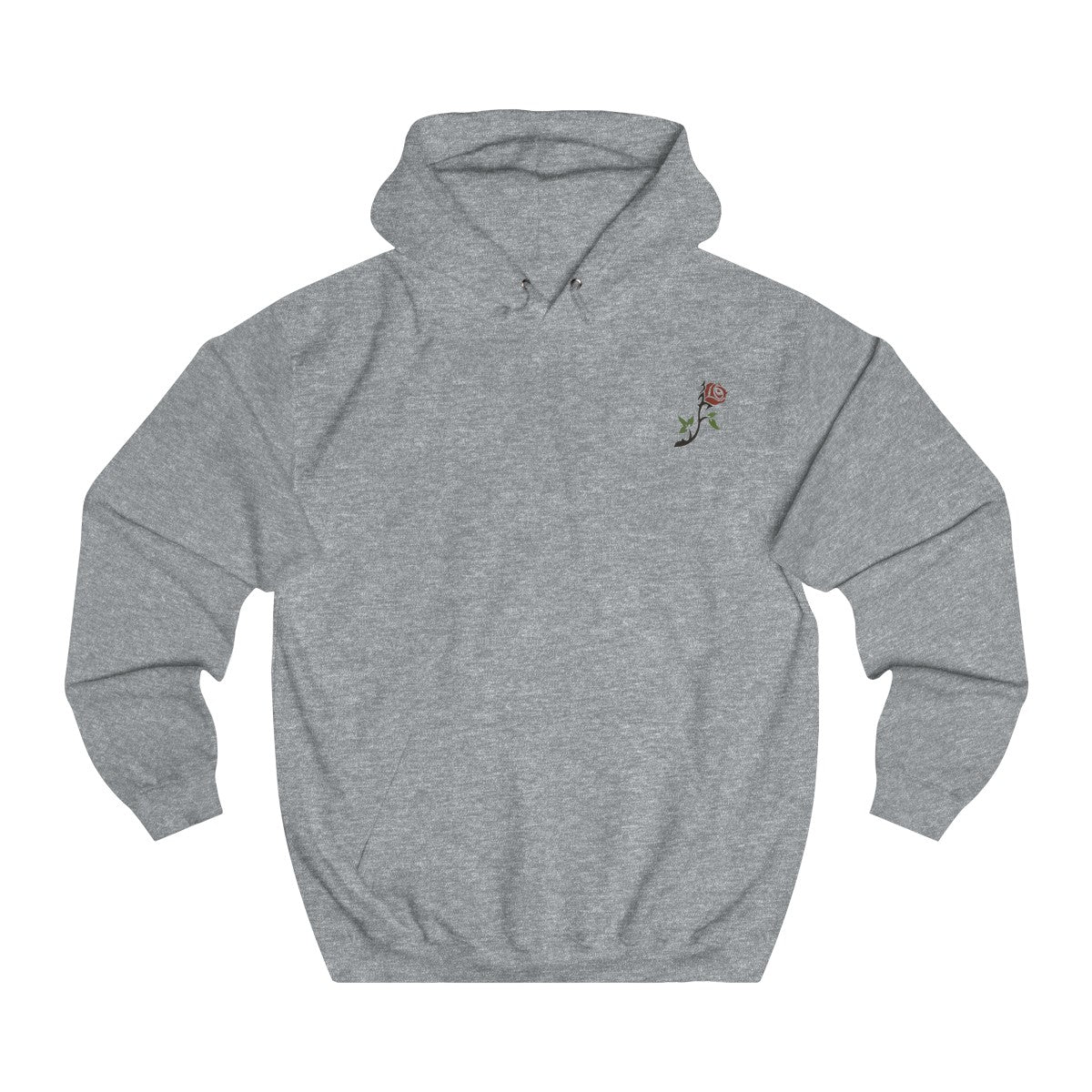 Unisex College Hoodie- with rose on chest & design on back - Wolf Kanactus