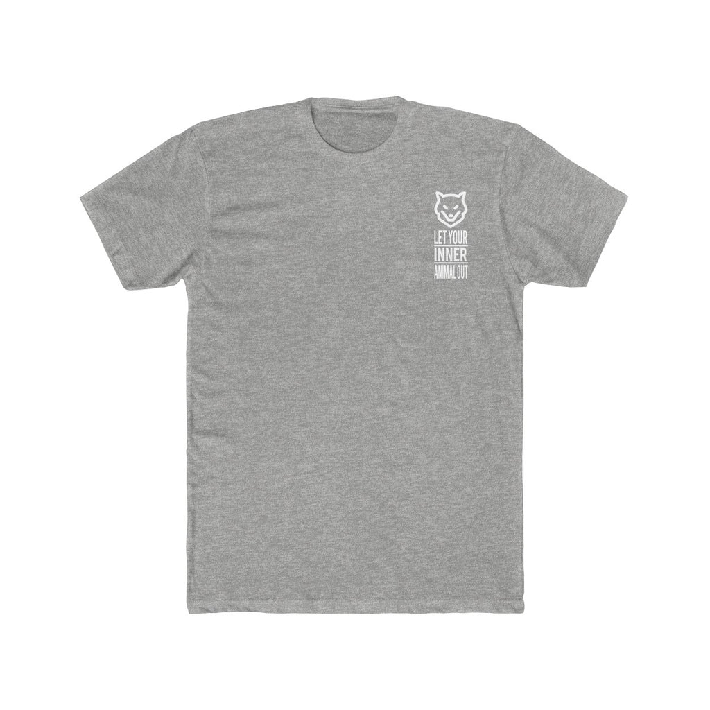 Men's Cotton Crew Tee- with logo and slogan on front and back - Wolf Kanactus
