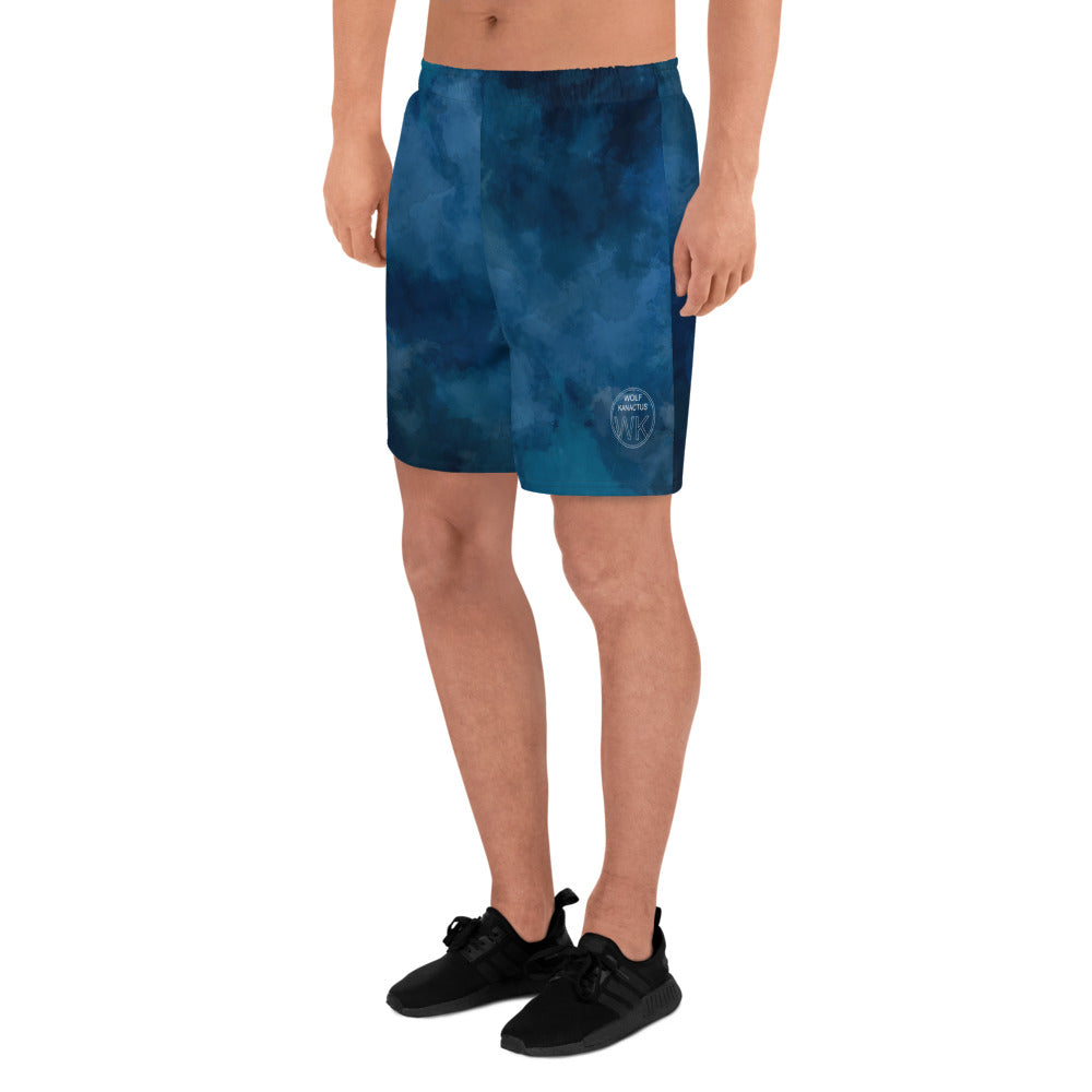 Men's Athletic Long Shorts- sport short with WK design on left leg - Wolf Kanactus