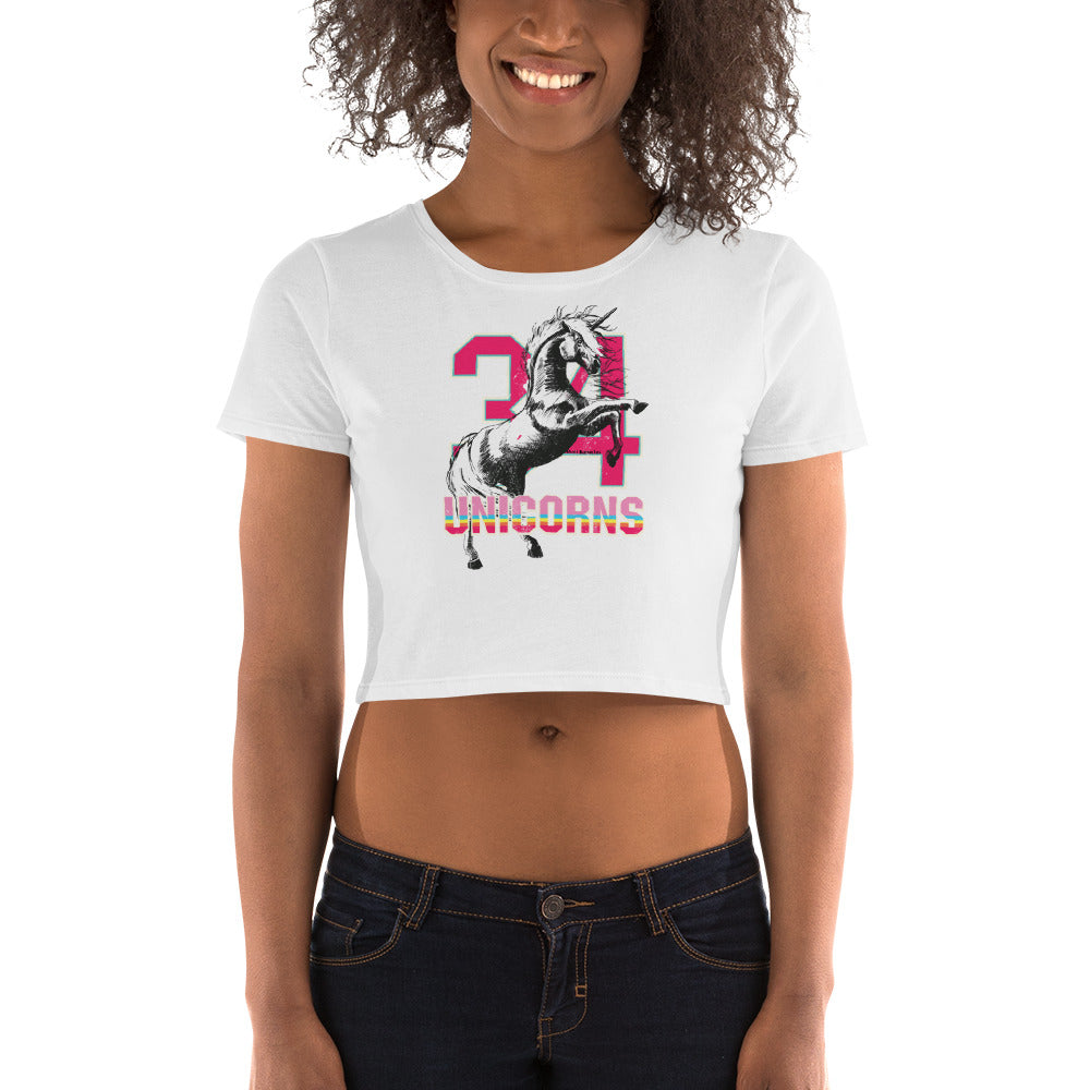 Women's Crop Tee- 24 unicorns by Wolf Kanactus