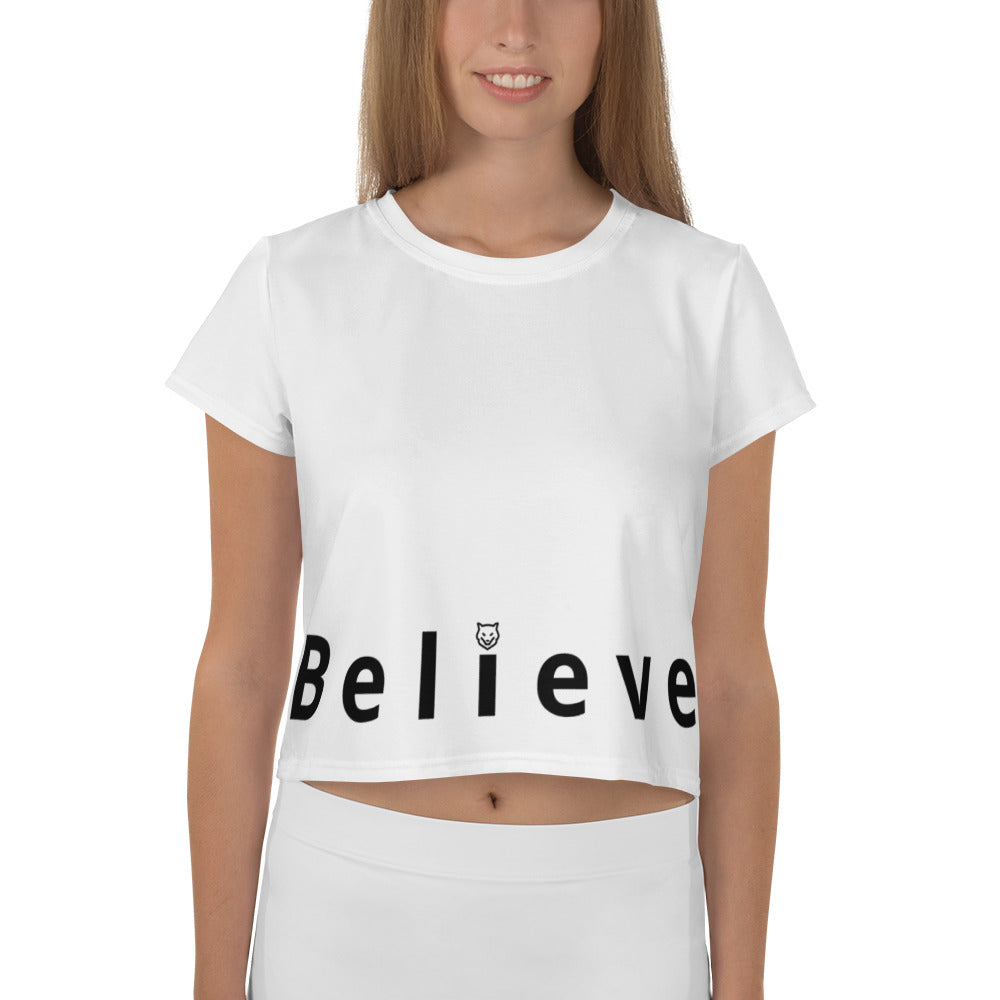 All-Over Print Crop Tee- Believe with Wolf Kanactus