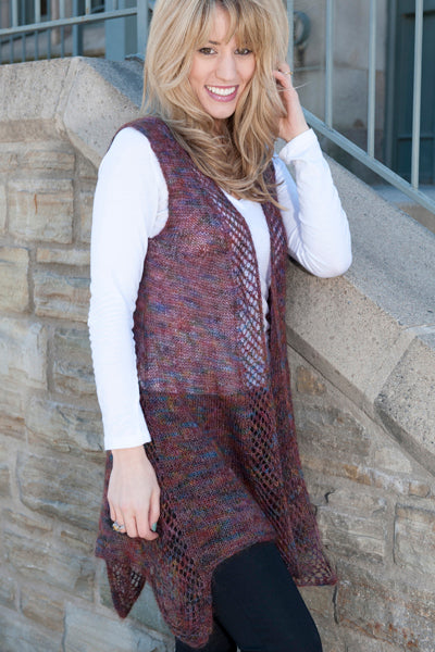 Gisele - Sheer Lacy Vest in Laceweight Yarn