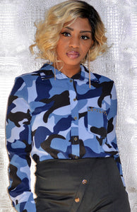 """The Bernice Blue Camo Blouse"""