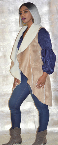 The Naomi Suede Tuxedo Tail Vest
