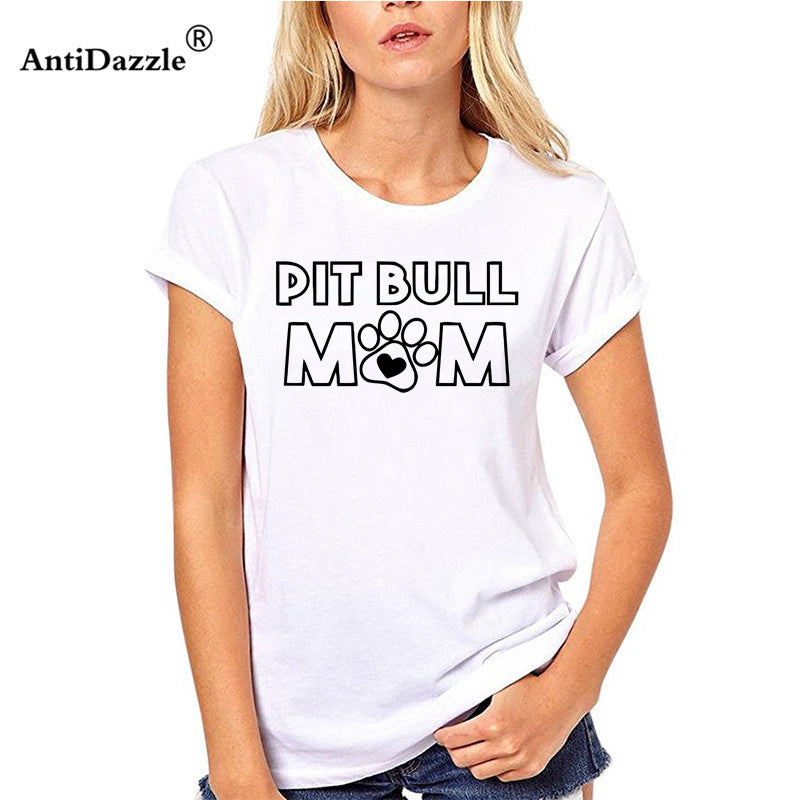 "Summer Style Woman T-Shirt ""Pit Bull Mom"""