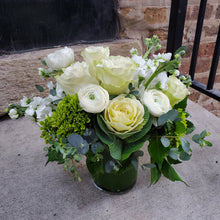 Low Lush White & Green Arrangement