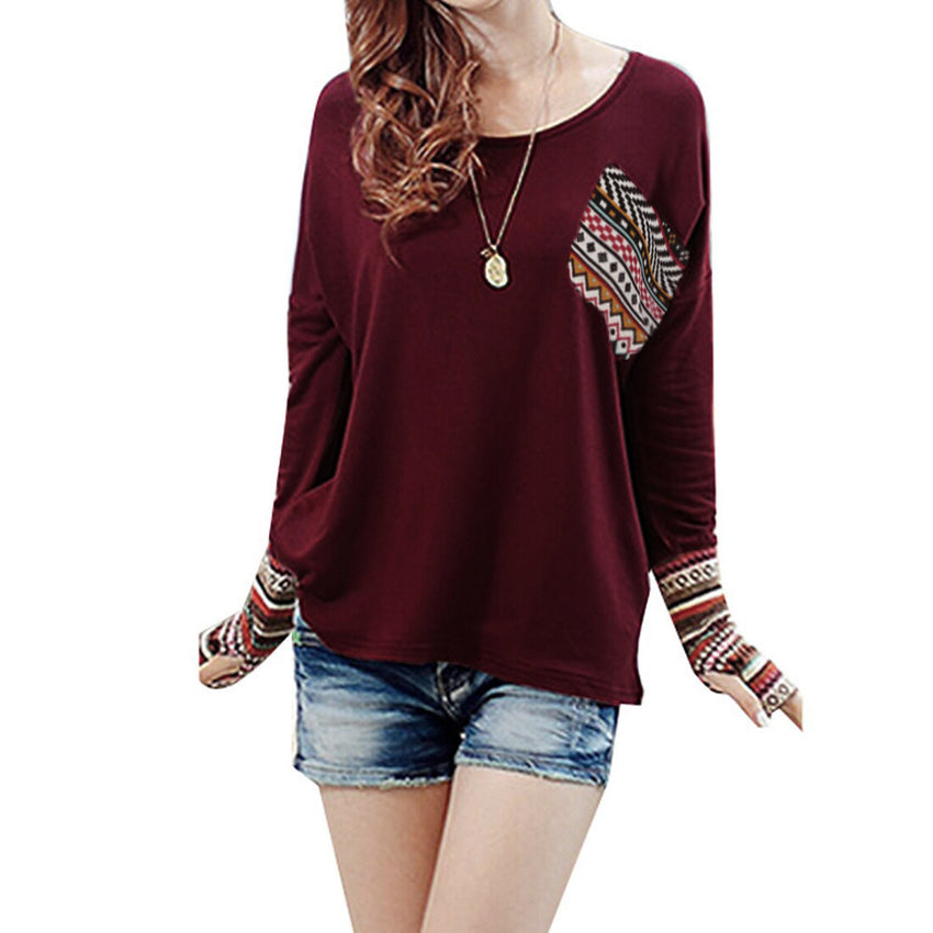 596462e386 Bessky - Women's Patchwork Casual T-shirt with Blouse Tops With Thumb Holes