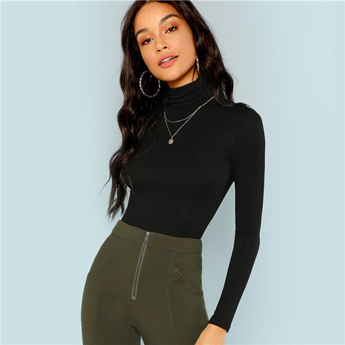 a58605a43803 SHEIN Black Turtleneck Slim Fit T-shirt Workwear in Office for Ladies