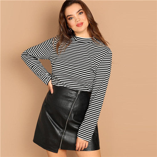 127542a1e43c SHEIN Stand Collar Long Sleeve with Slim Fit Striped for Women ...