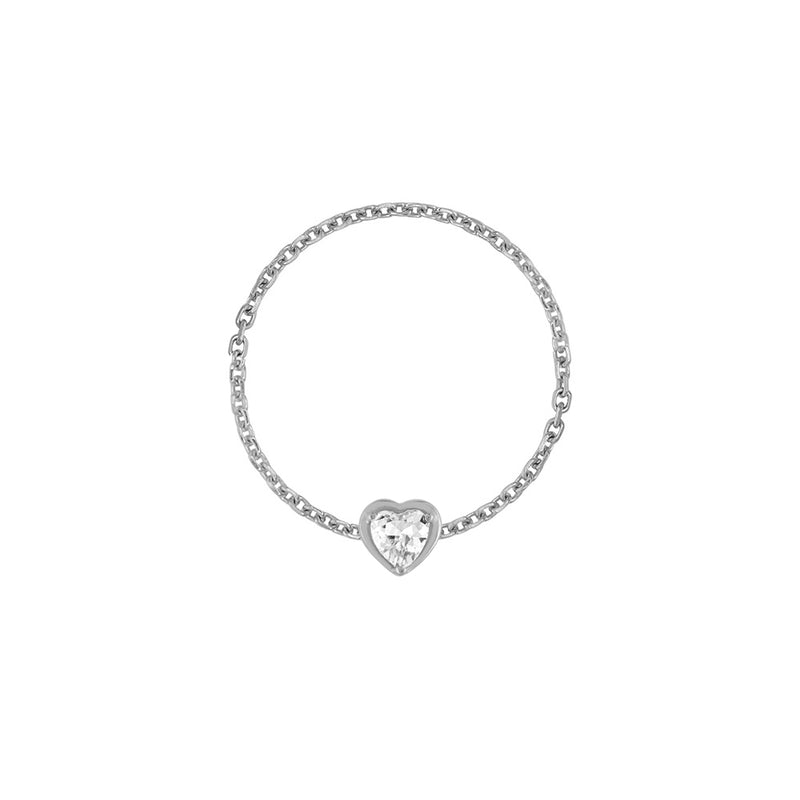 Birthstone Heart Chain Ring