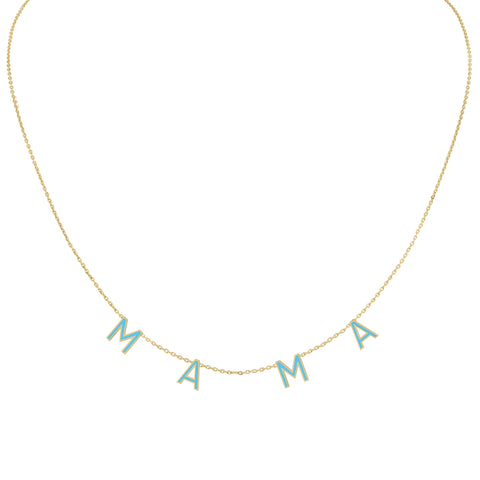 Two Name Mini Mini Nameplate Necklace with Diamond Bezel