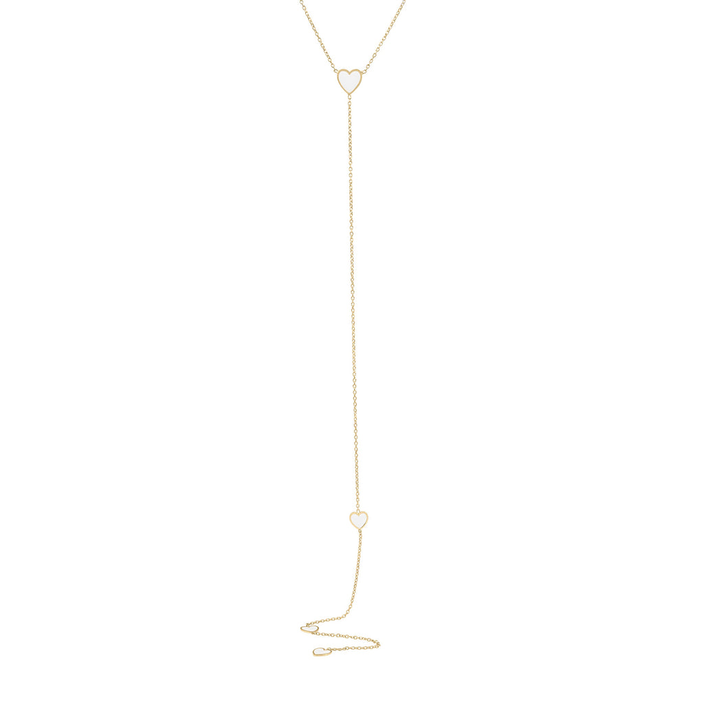 Enamel Hearts Lariat Necklace