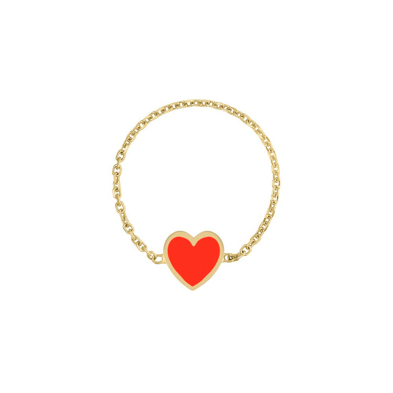 Mini Enamel Heart Chain Ring