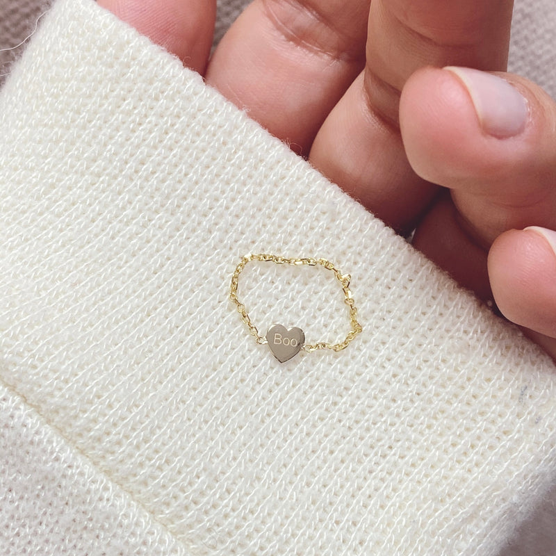 Mini Mini Heart Chain Ring