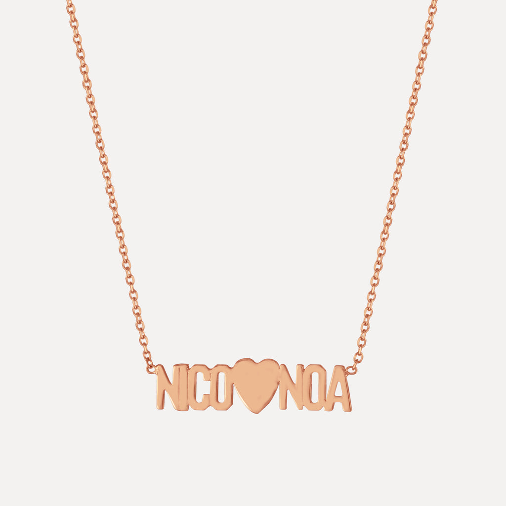 Mini Mini Nameplate Necklace with Heart