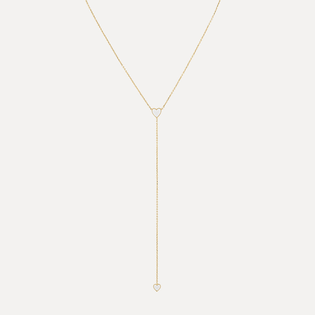 Two Enamel Hearts Lariat Necklace