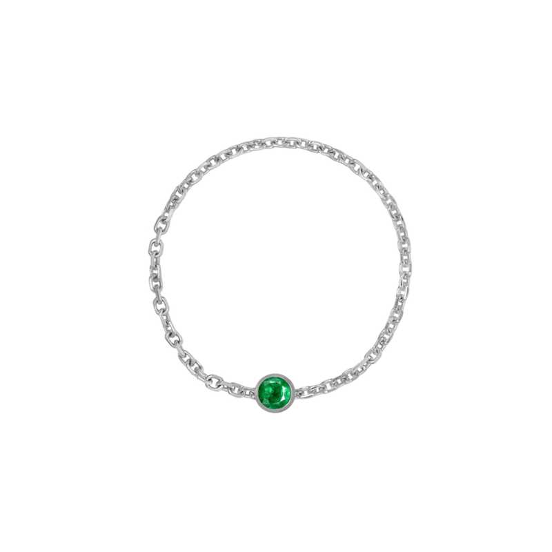 Birthstone Bezel Chain Ring - Kelly Bello Design
