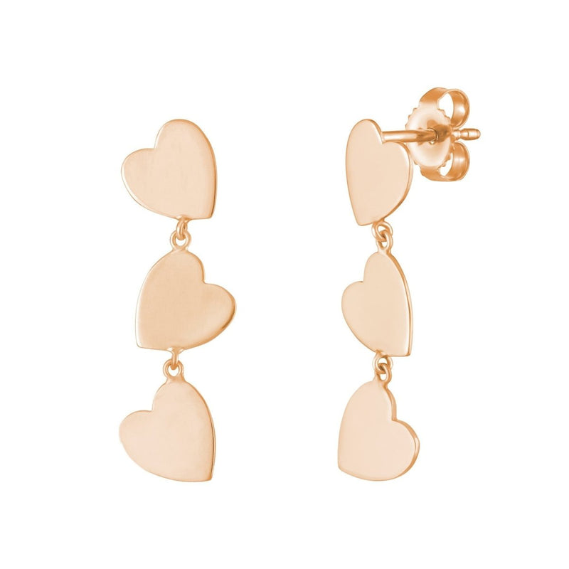 Dangling Mini Heart Stud Earrings - Kelly Bello Design