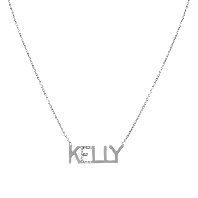 Diamond Accent Nameplate Necklace (custom) - Kelly Bello Design