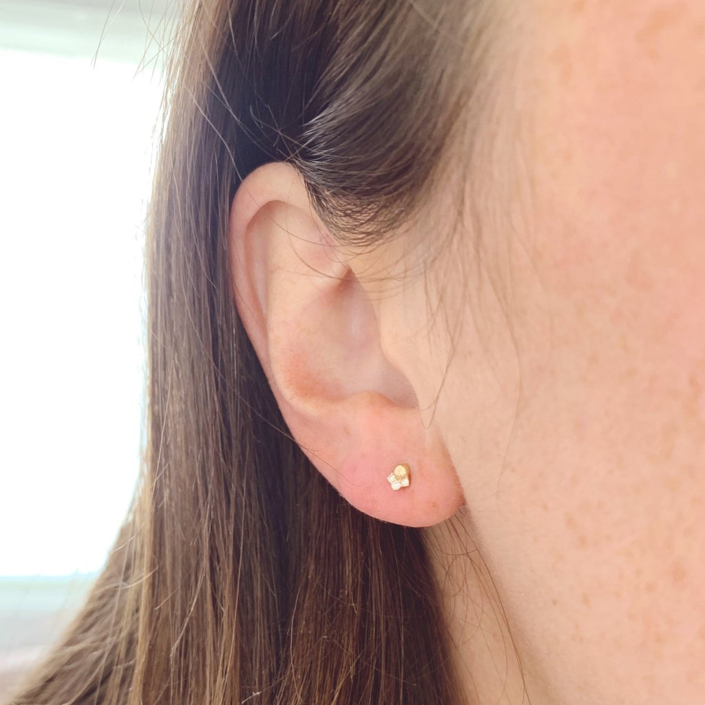 Diamond Trio & Ball Piercing Earring - Kelly Bello Design