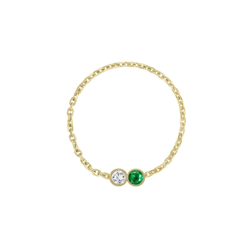 Double Birthstone Bezel Chain Ring - Kelly Bello Design