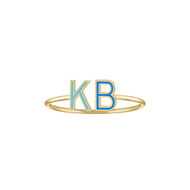 Double Mini Enamel Letter Ring - Blue *Pre-Order* - Kelly Bello Design