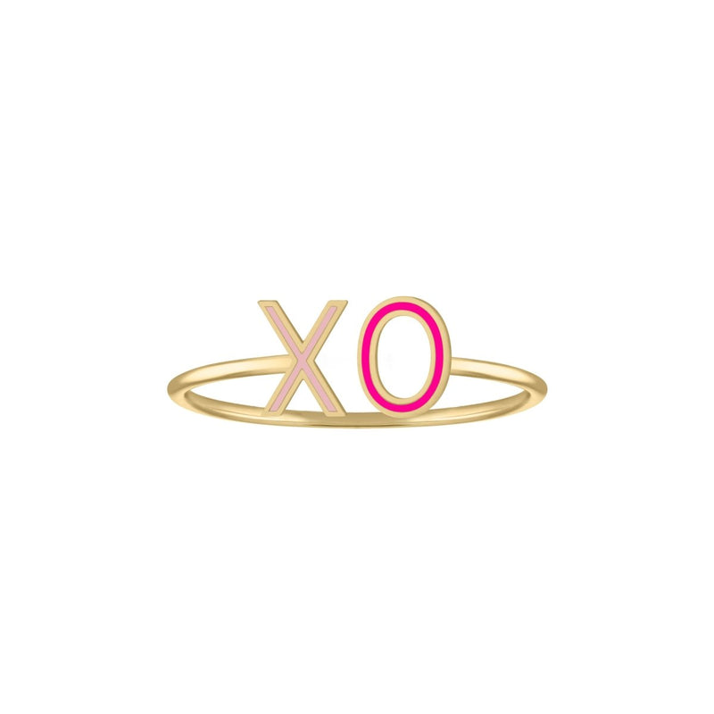 Double Mini Enamel Letter Ring - Pink *Pre-Order* - Kelly Bello Design