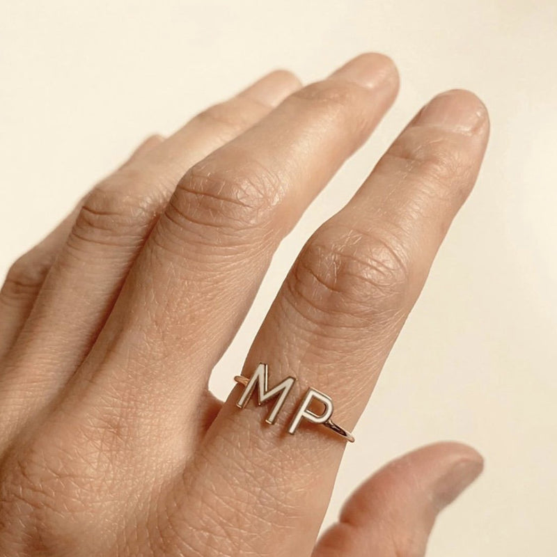 Double Mini Enamel Letter Ring - White - Kelly Bello Design