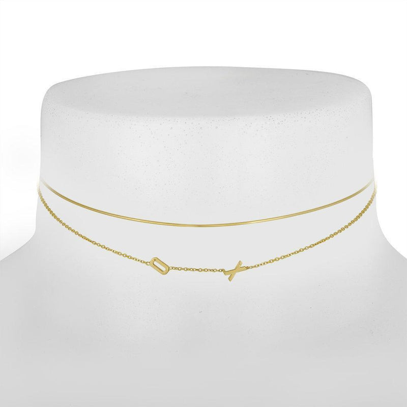 Double Mini Letter Choker Necklace - Kelly Bello Design