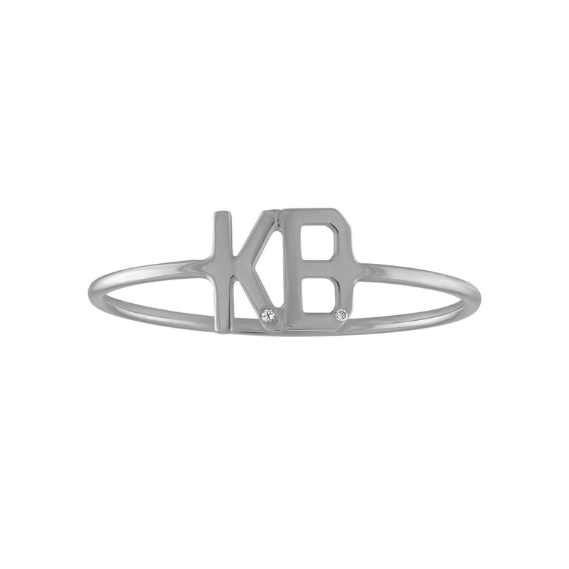 Double Mini Letter Ring - Kelly Bello Design