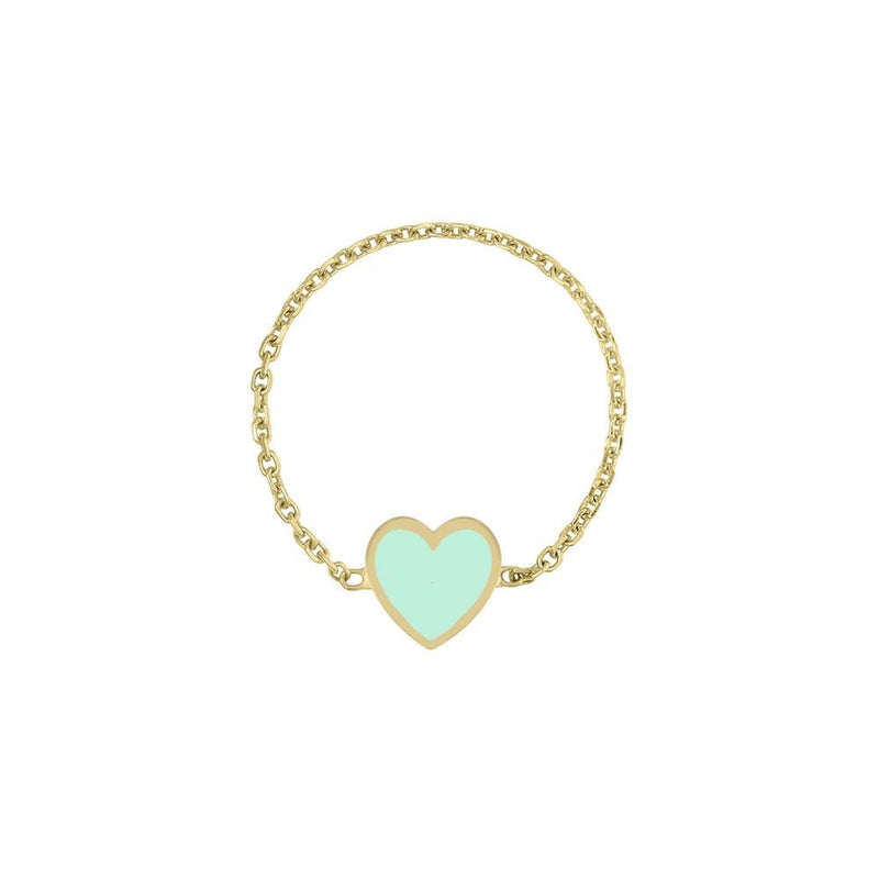 Enamel Heart Chain Ring - Kelly Bello Design
