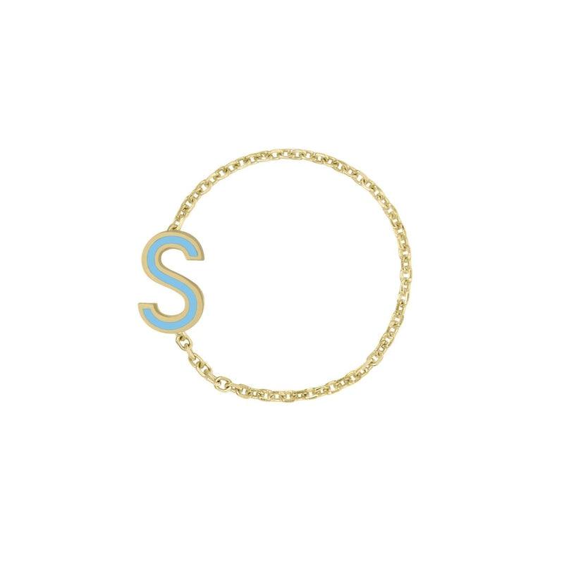 Enamel Letter Chain Ring - Kelly Bello Design
