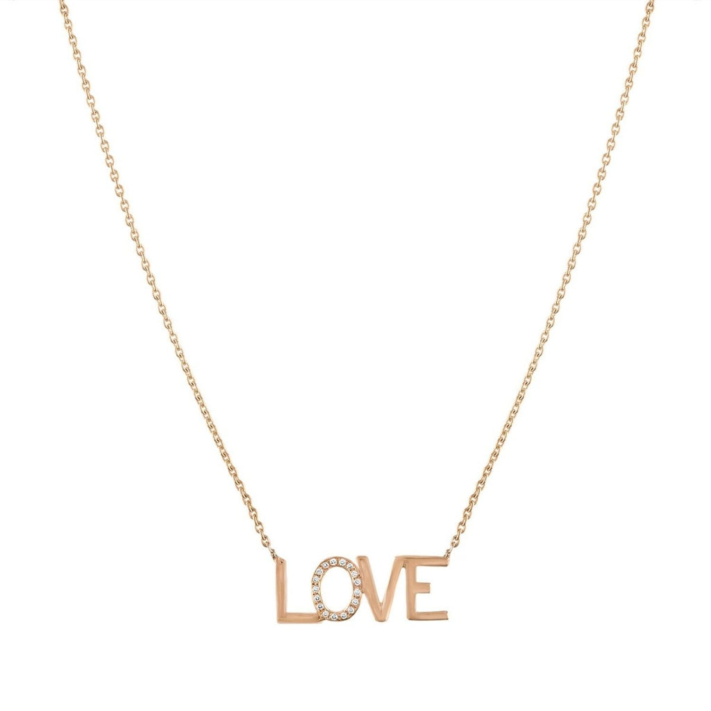 LOVE Diamond Accent Nameplate Necklace - Kelly Bello Design