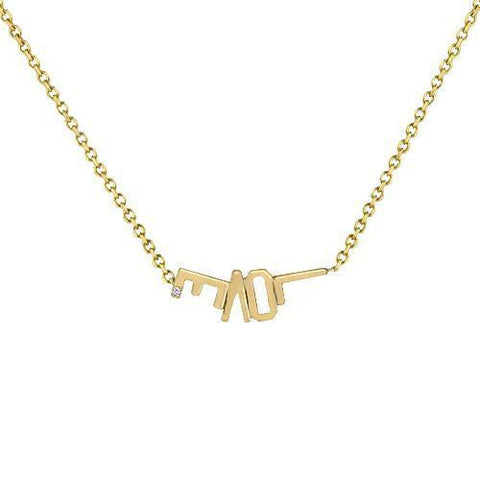 MOM Diamond Accent Nameplate Necklace