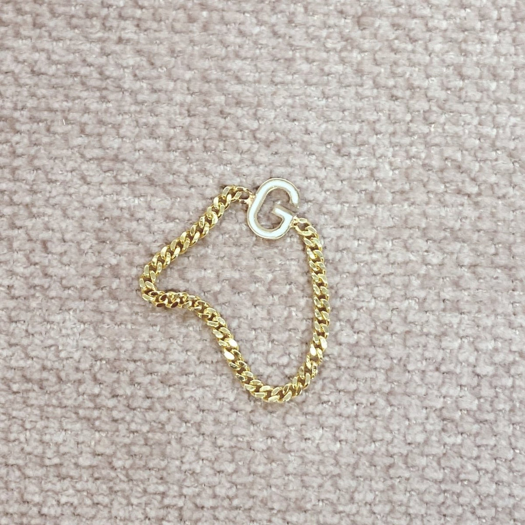 Mini Curb Chain Ring with Enamel Letter - Kelly Bello Design