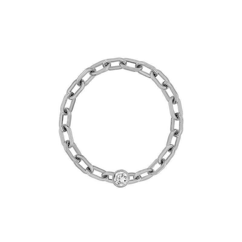 Mini Long Link Chain Ring with Diamond Bezel - Kelly Bello Design