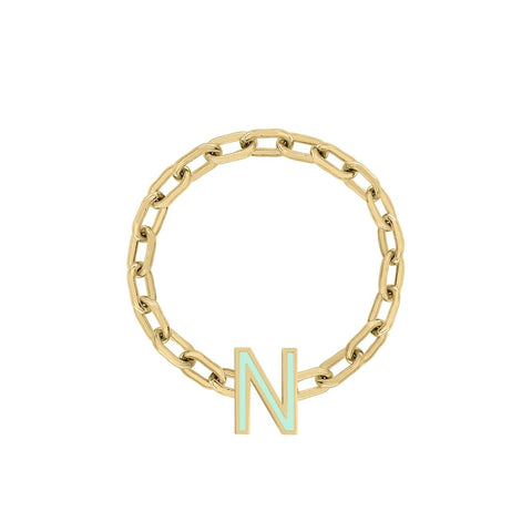 Double Enamel Letter Ring - Green *Pre-Order*