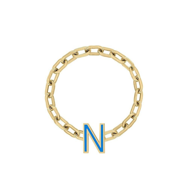 Mini Long Link Chain Ring with Enamel Letter - Kelly Bello Design
