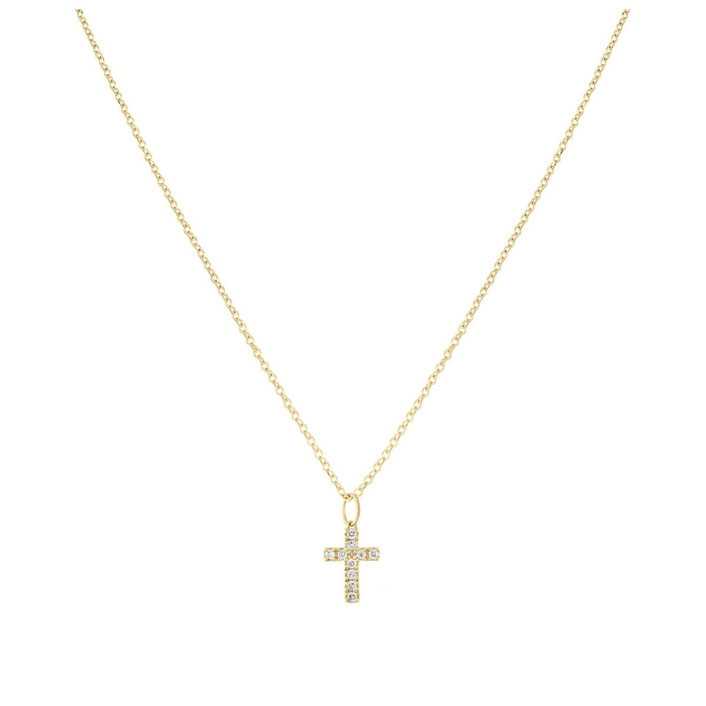 Mini Pave Cross Necklace Charm - Kelly Bello Design