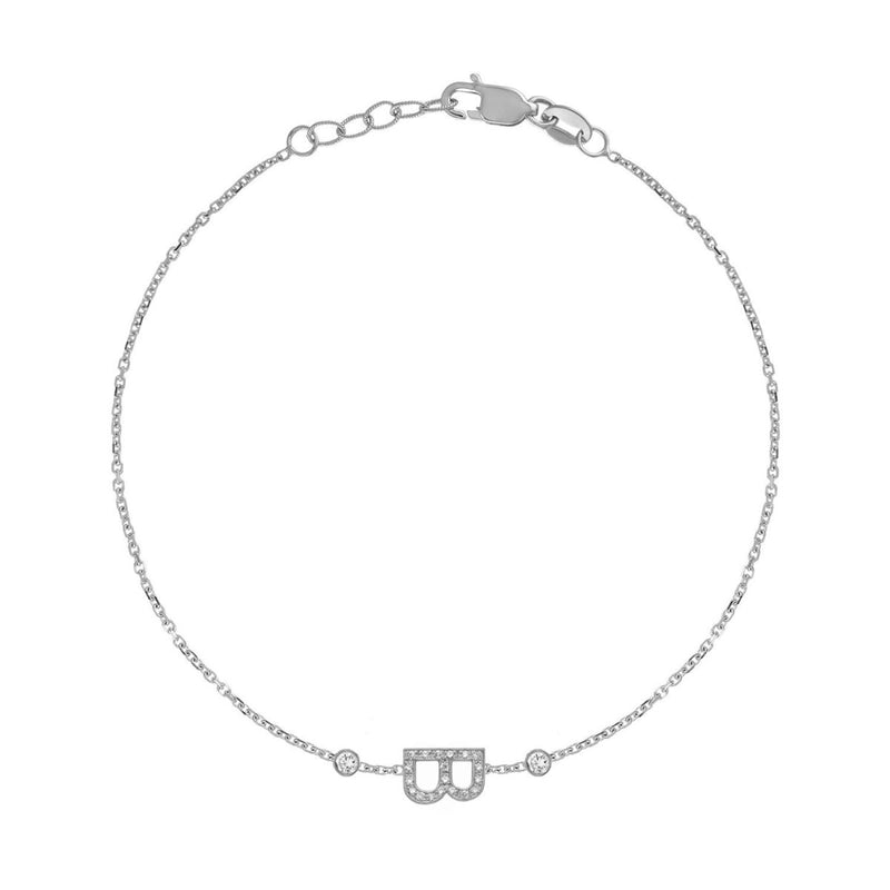 Mini Pavé Letter Bracelet with Bezels - Kelly Bello Design