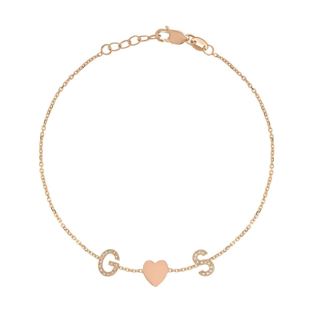 Mini Pave Letter Bracelet with Heart - Kelly Bello Design