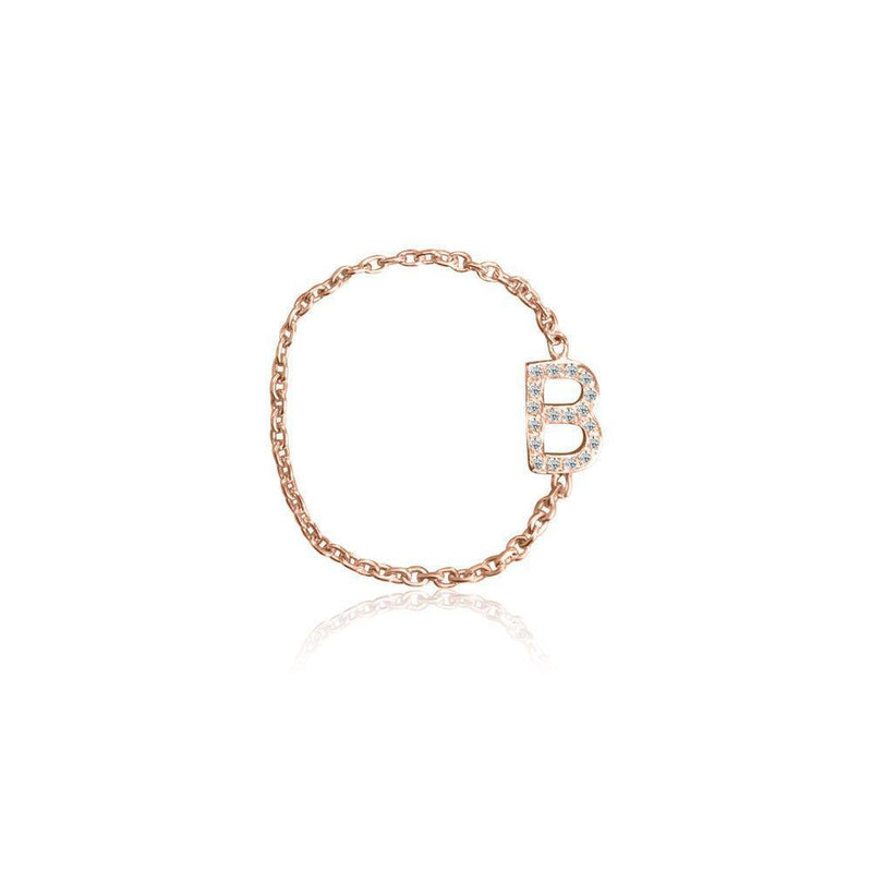 Mini Pave Letter Chain Ring - Kelly Bello Design