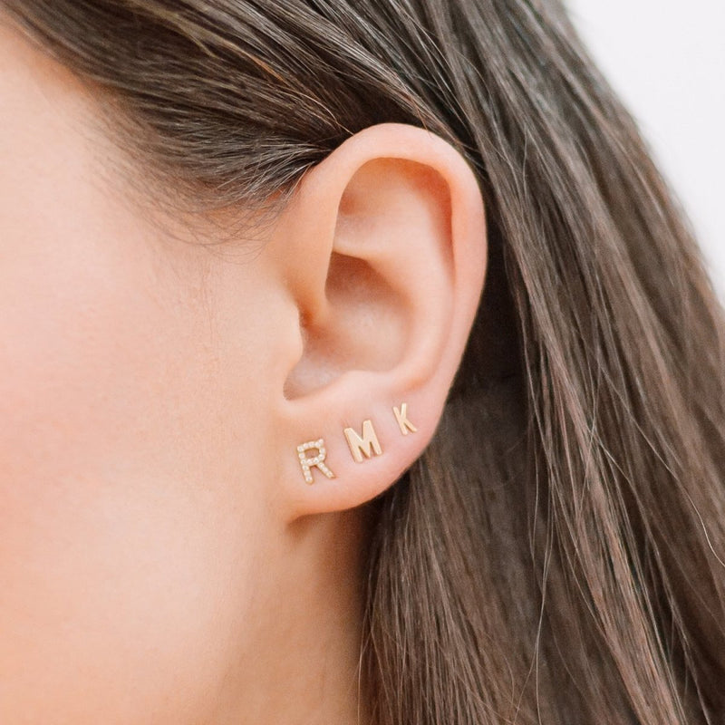 Mini Pave Letter Earrings - Kelly Bello Design
