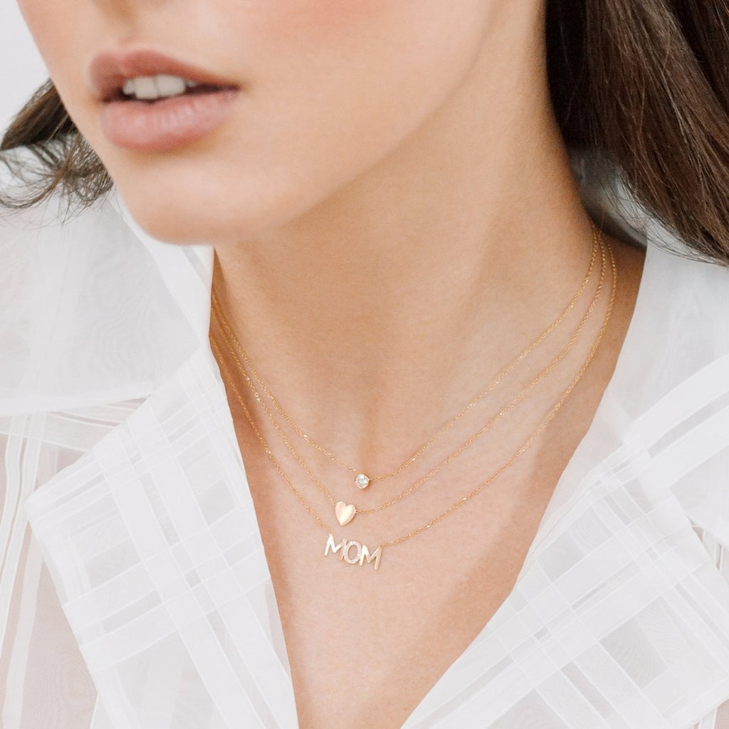 MOM Diamond Accent Nameplate Necklace - Kelly Bello Design