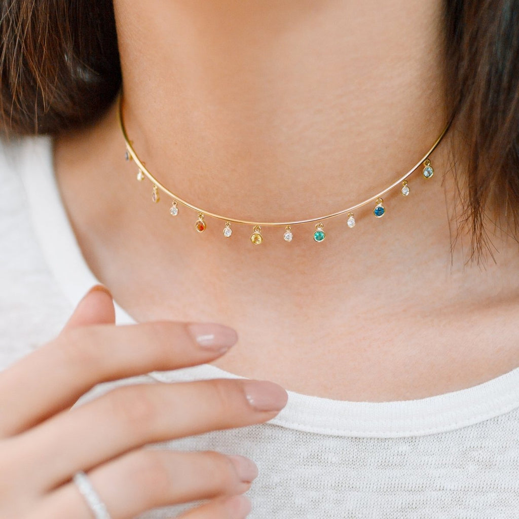 Rainbow & Diamond Choker - Kelly Bello Design